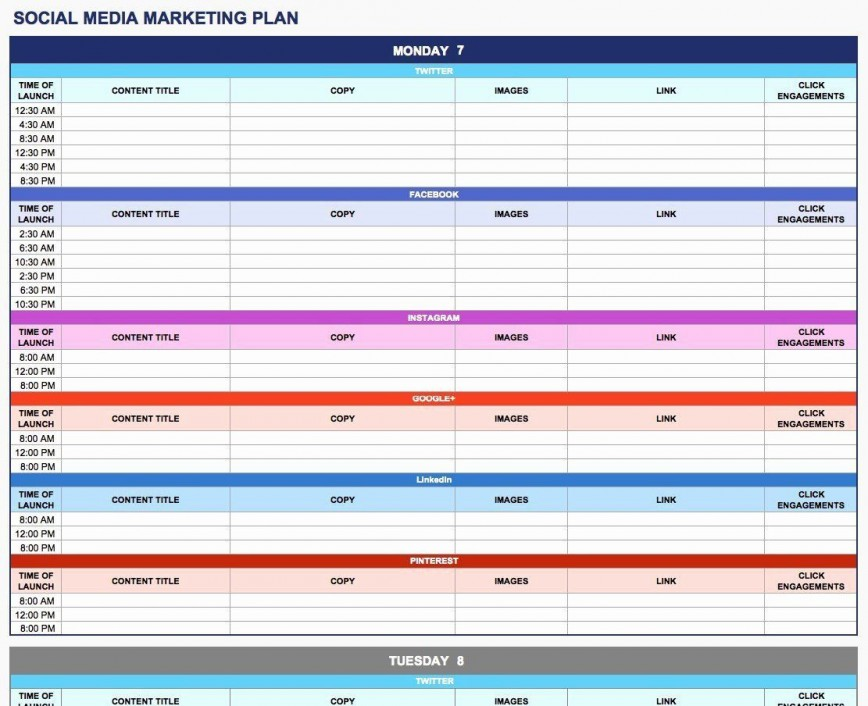 003 Rare Social Media Plan Template High Resolution  Free Download Ppt Marketing Excel868