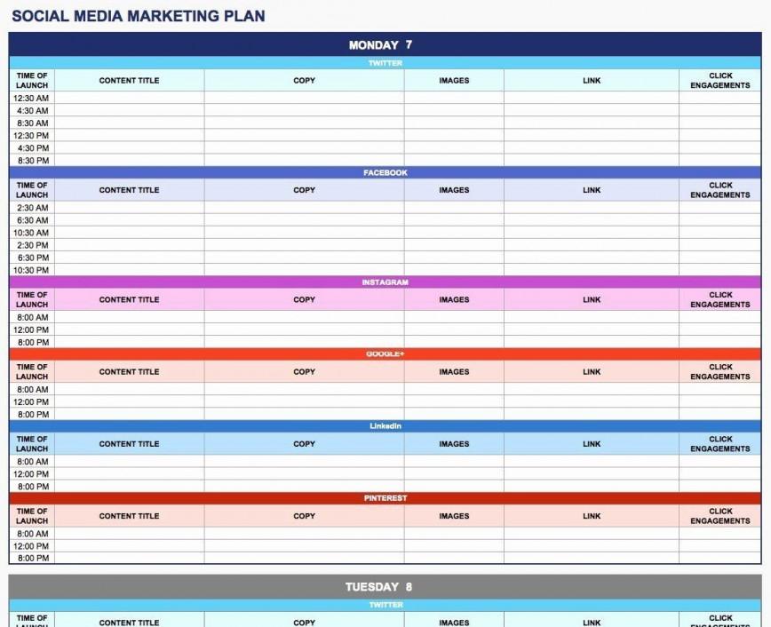 003 Rare Social Media Plan Template High Resolution  Doc Download Marketing Excel868