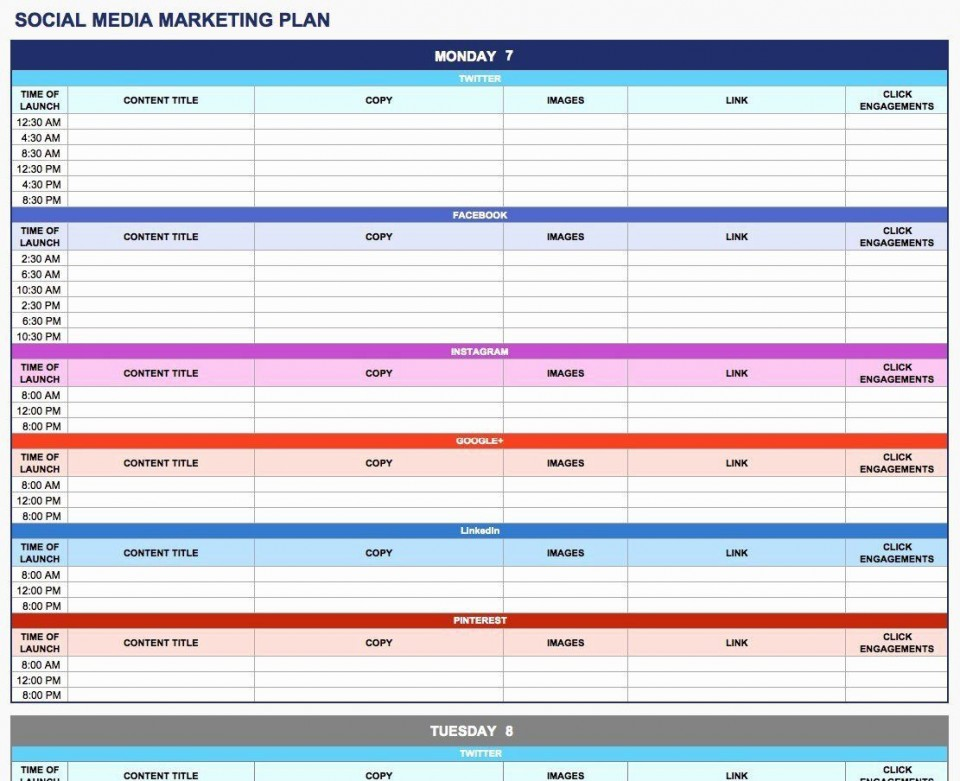 003 Rare Social Media Plan Template High Resolution  Free Download Ppt Marketing Excel960