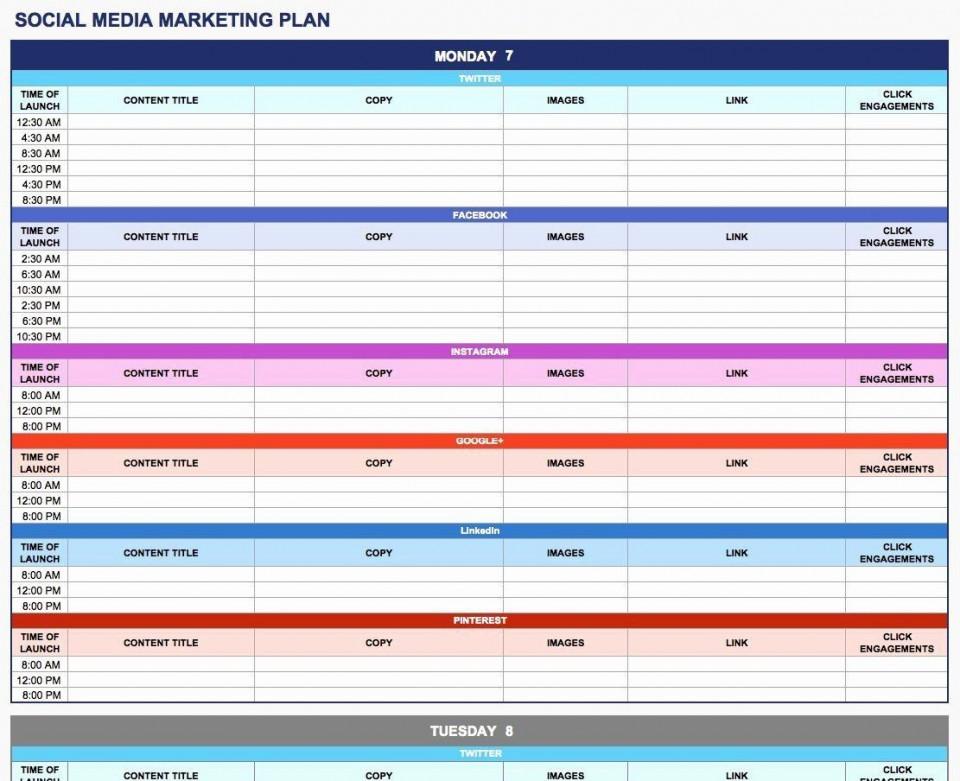 003 Rare Social Media Plan Template High Resolution  Doc Download Marketing Excel960