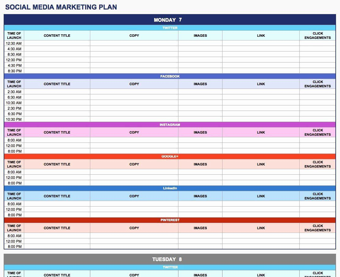 003 Rare Social Media Plan Template High Resolution  Free Download Ppt Marketing ExcelFull