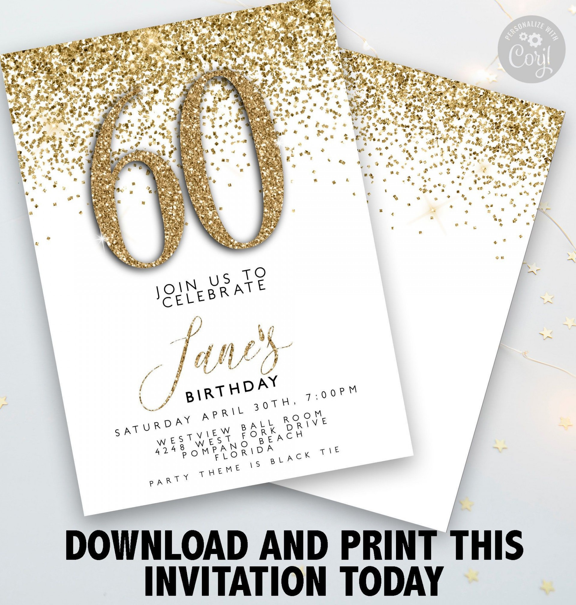 003 Remarkable 60 Birthday Invite Template Example  Templates 60th Printable Free1920