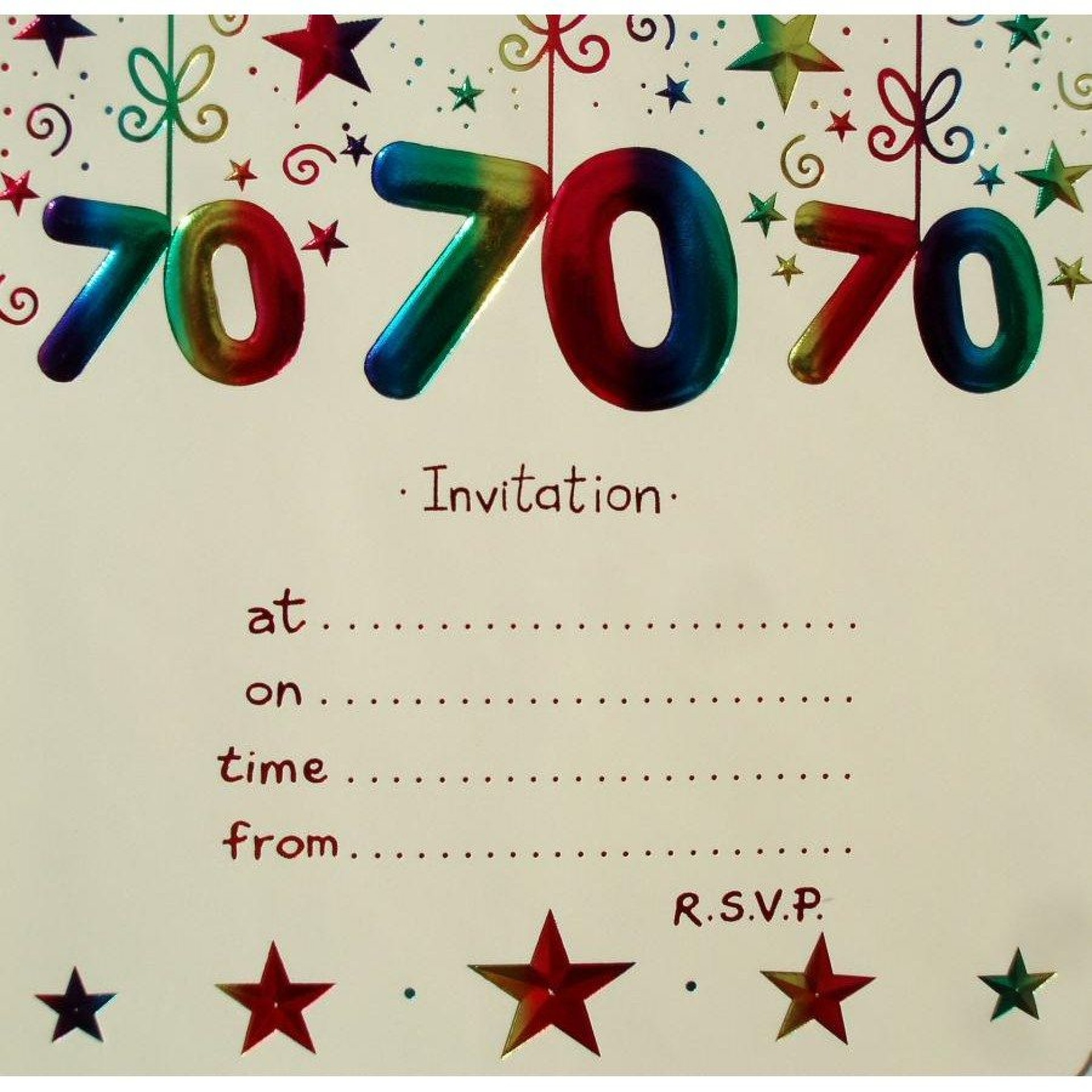 003 Remarkable 70th Birthday Invitation Template Free Sample  Surprise Invite With Photo1920