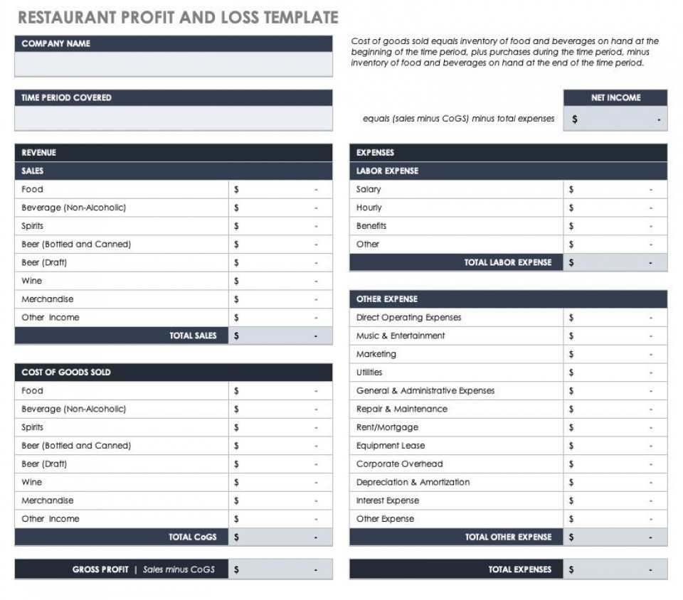 003 Remarkable Basic Profit And Los Template High Resolution  Free Simple Form Statement Excel For Self Employed960