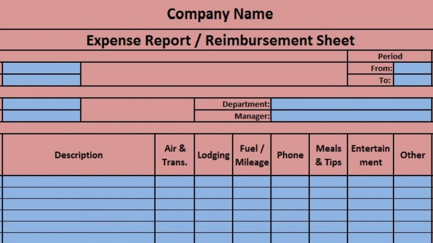 Expense Report Template Excel Addictionary