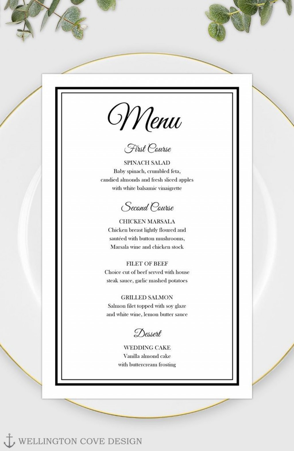 003 Remarkable Free Printable Wedding Menu Card Template Idea Large