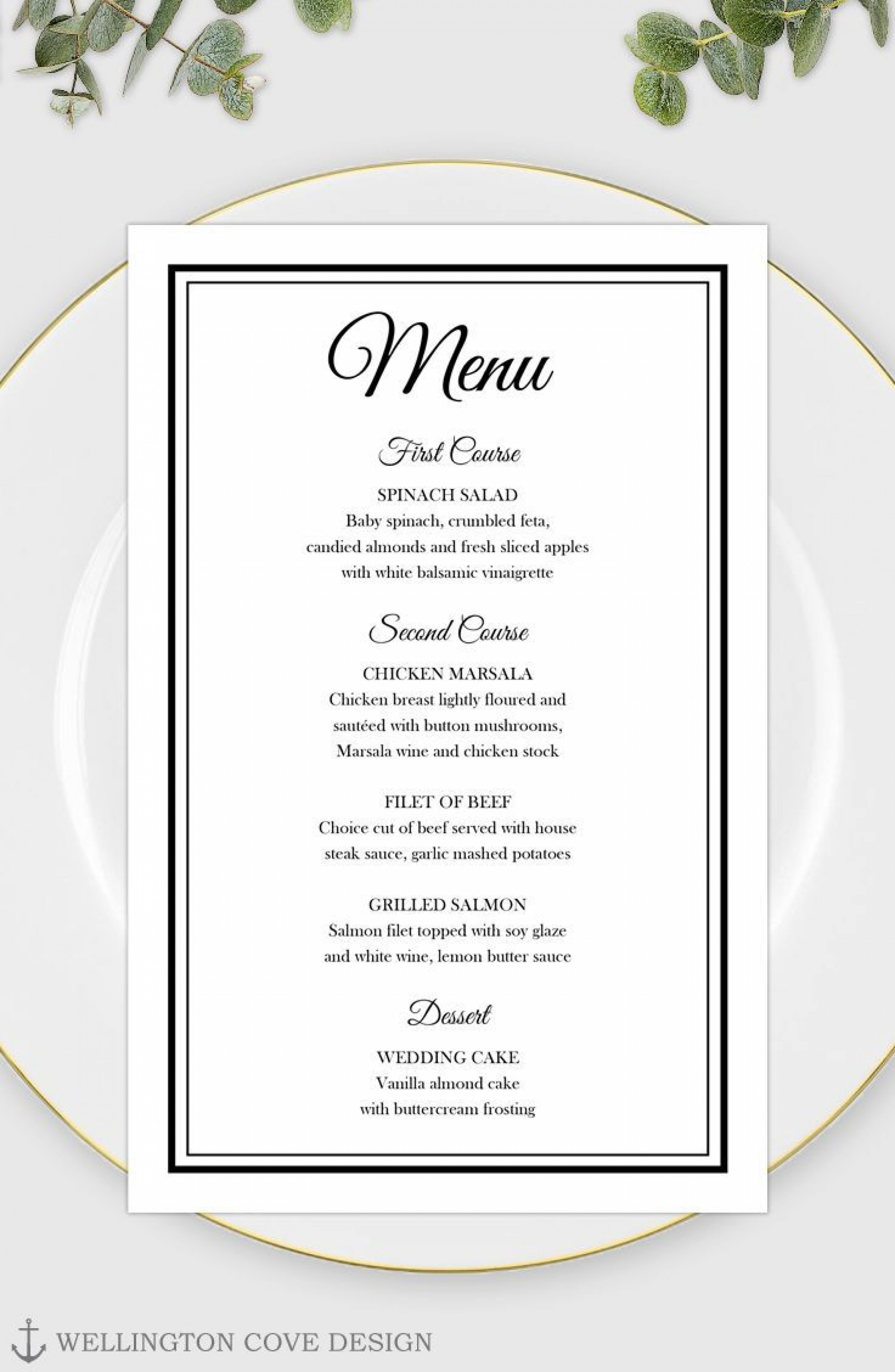003 Remarkable Free Printable Wedding Menu Card Template Idea 1920