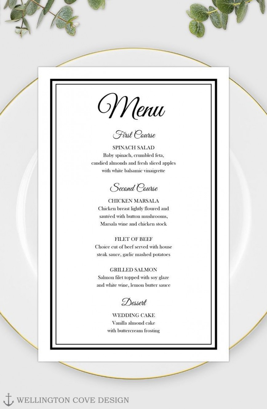 003 Remarkable Free Printable Wedding Menu Card Template Idea