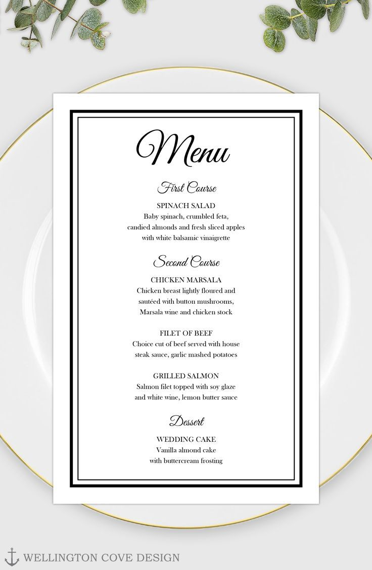 003 Remarkable Free Printable Wedding Menu Card Template Idea Full