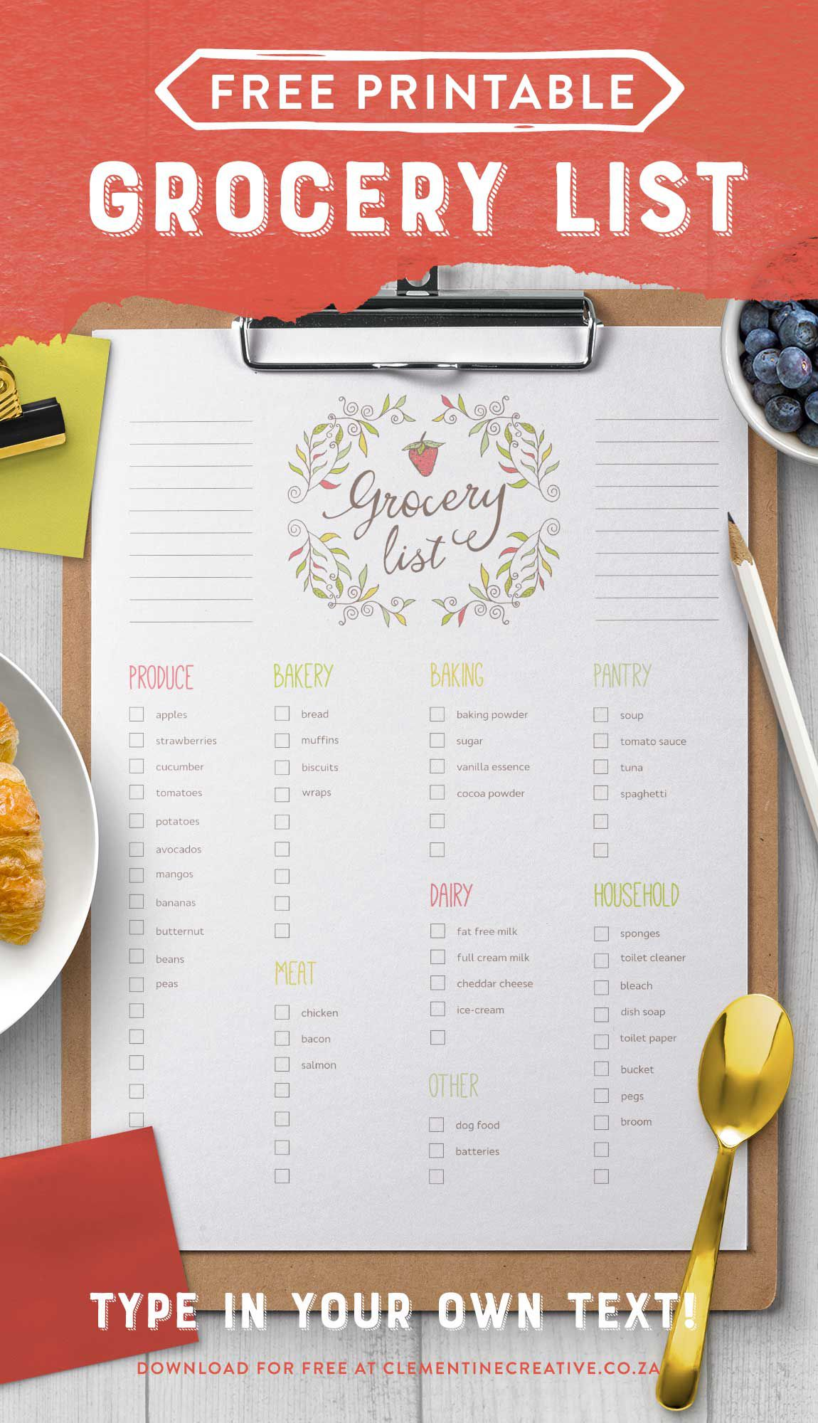 003 Remarkable Grocery List Template Word Doc High Def  Shopping DocumentFull