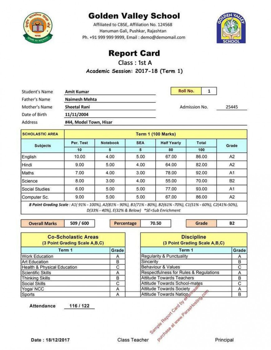 003 Remarkable Middle School Report Card Template Pdf Highest Quality 868
