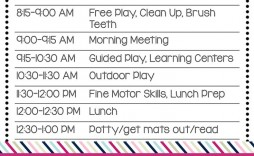 003 Remarkable Preschool Daily Schedule Template High Def  Planner Routine Plan