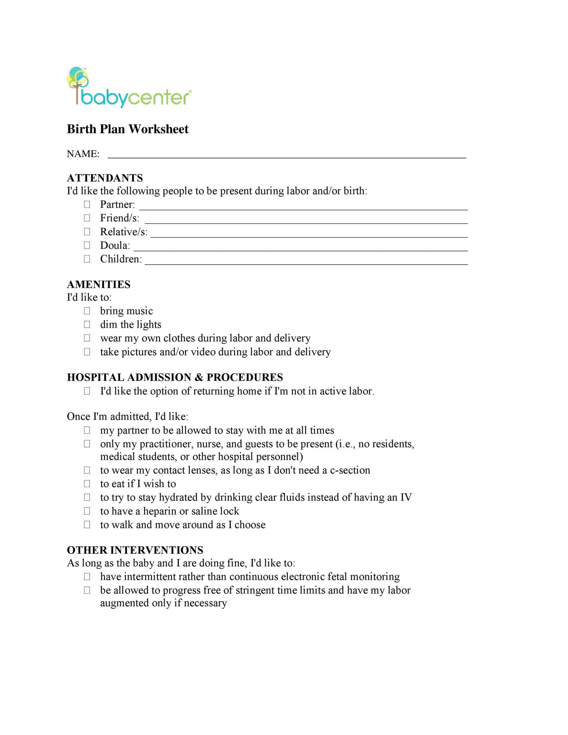 003 Remarkable Printable Birth Plan Template Highest Clarity  Editable Pdf Free1920