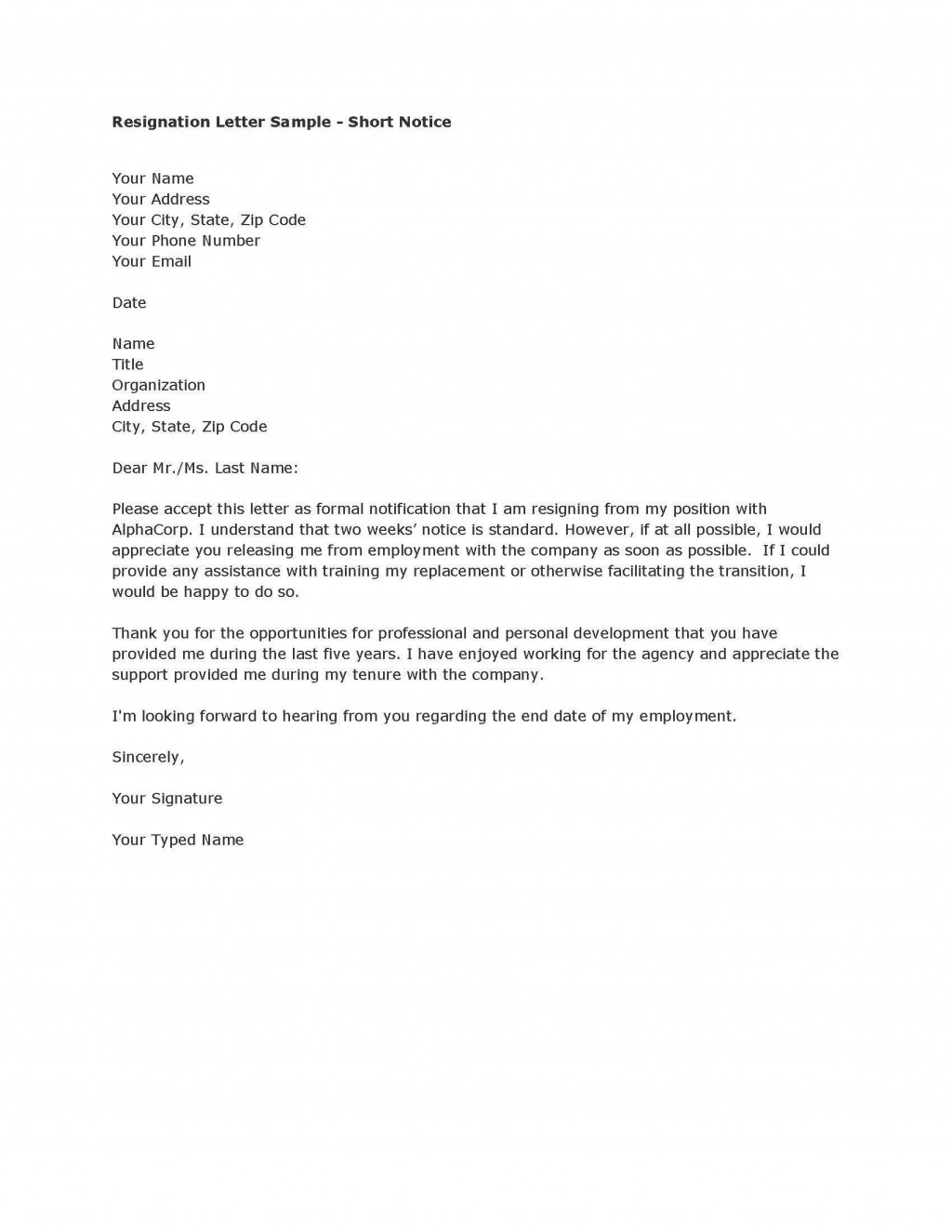 003 Remarkable Template For Letter Of Resignation Design  Free With Notice Period WordLarge