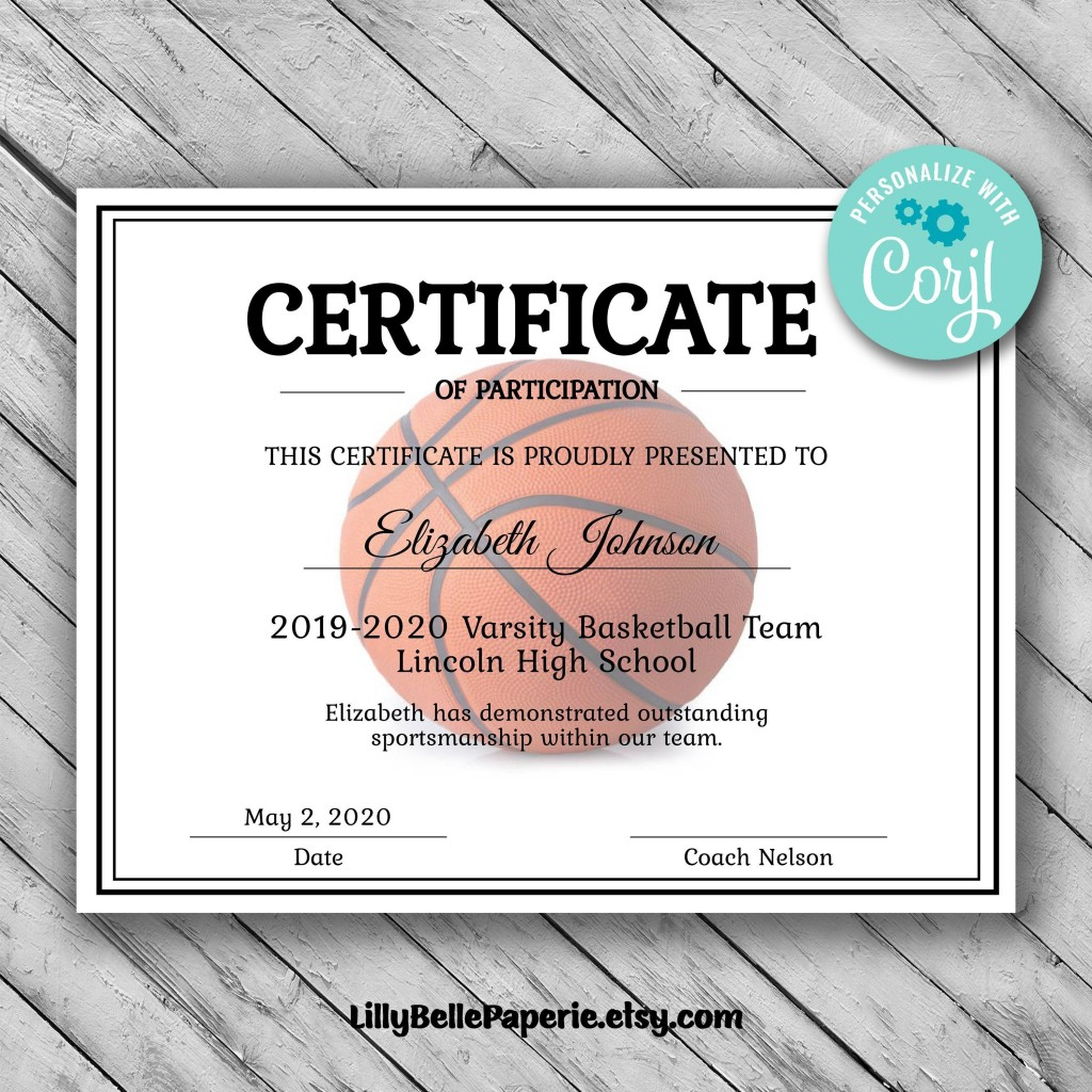 003 Sensational Free Printable Basketball Certificate Template Picture  TemplatesLarge