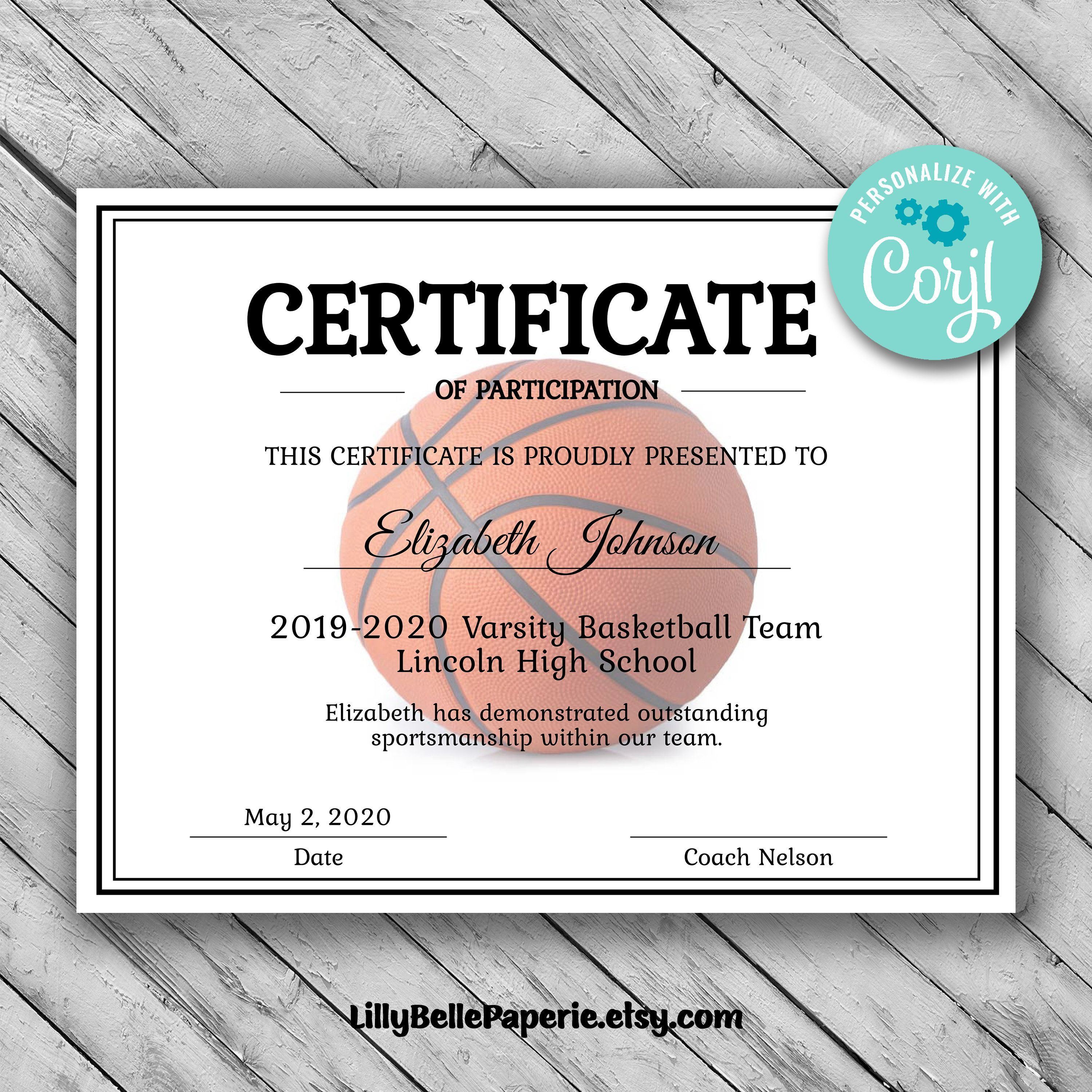 003 Sensational Free Printable Basketball Certificate Template Picture  TemplatesFull