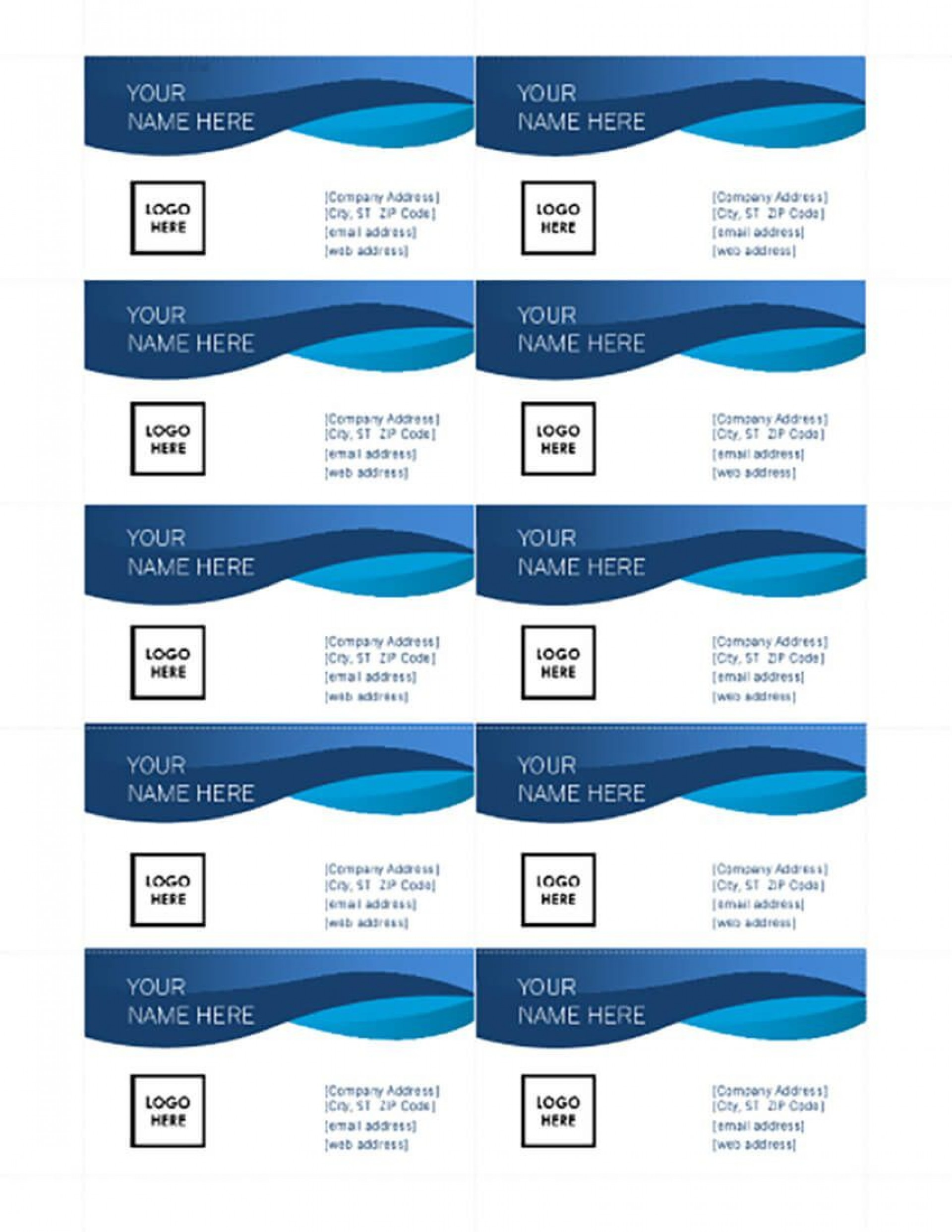 003 Sensational Free Printable Card Template Word Design  Blank Busines For1920