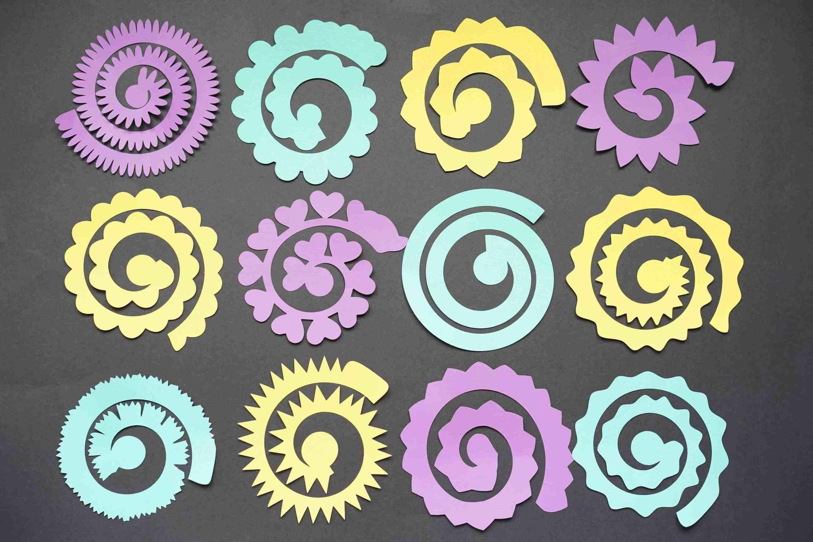 003 Sensational Free Rolled Paper Flower Template For Cricut Inspiration Full