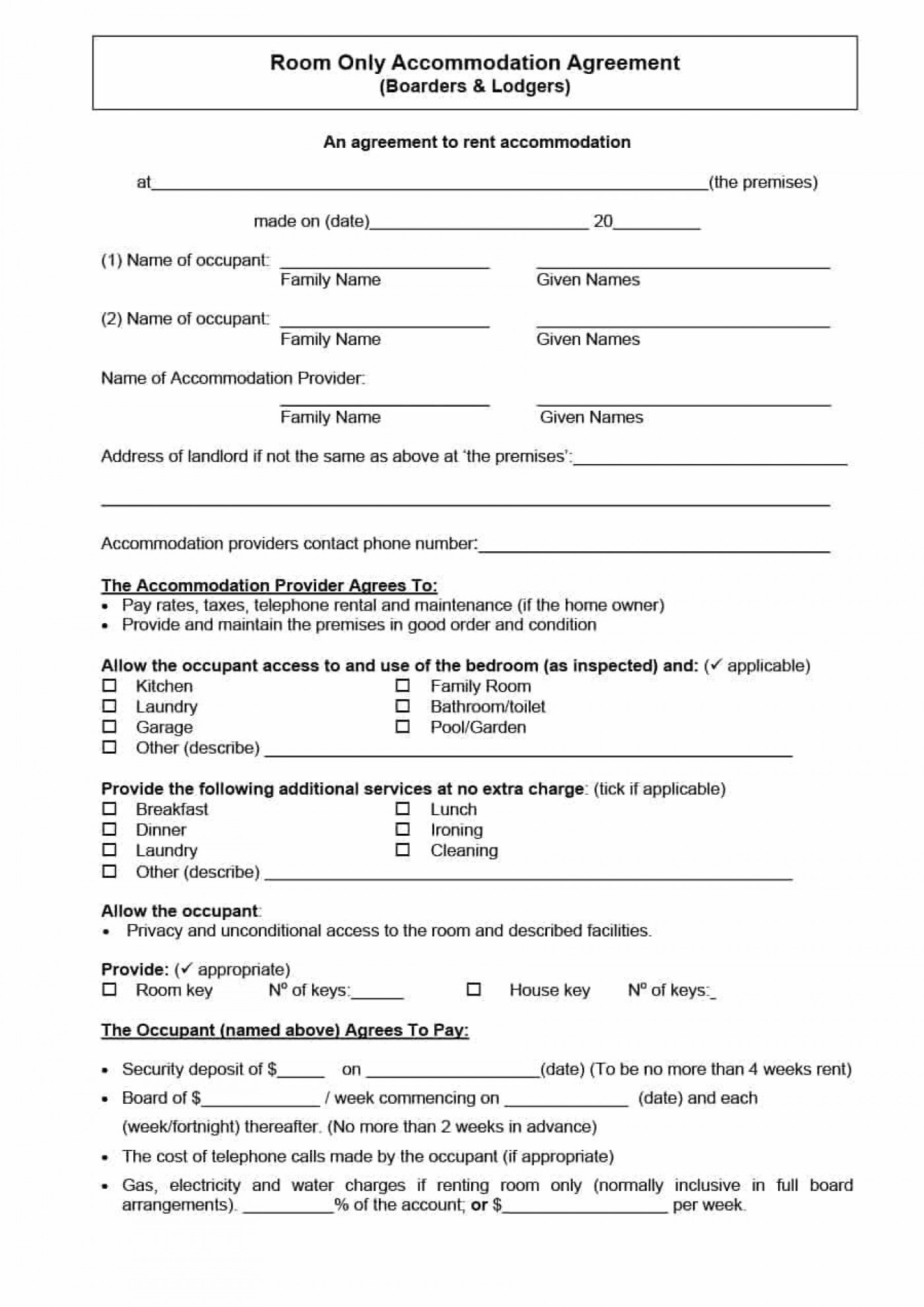 003 Sensational Generic Room Rental Agreement Free Inspiration  Printable1400