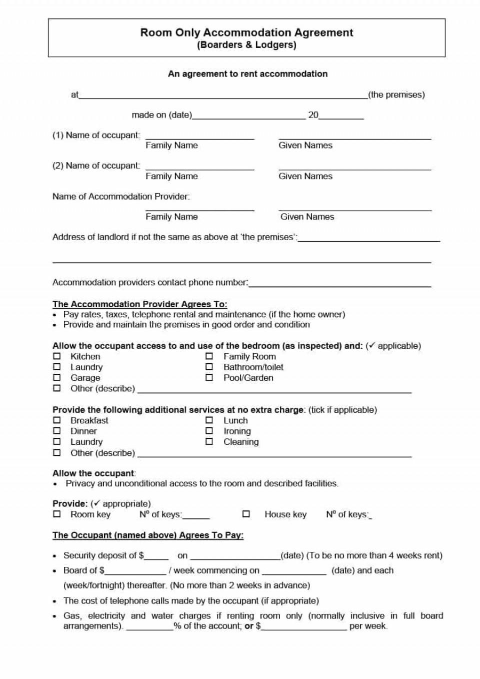 003 Sensational Generic Room Rental Agreement Free Inspiration  Printable960