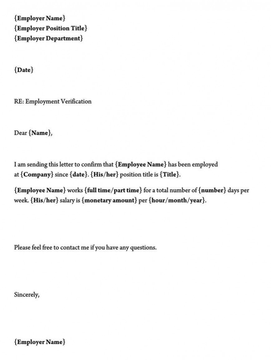 Letter Of Employment Template Addictionary