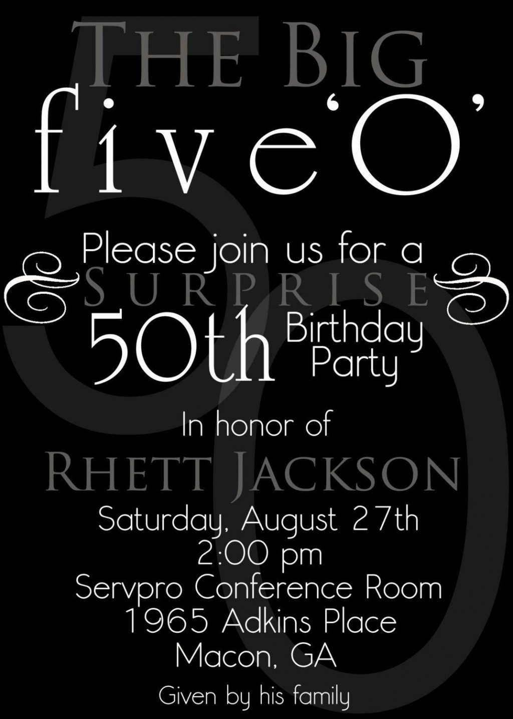 003 Sensational Surprise 50th Birthday Invitation Template Word Free Inspiration Large
