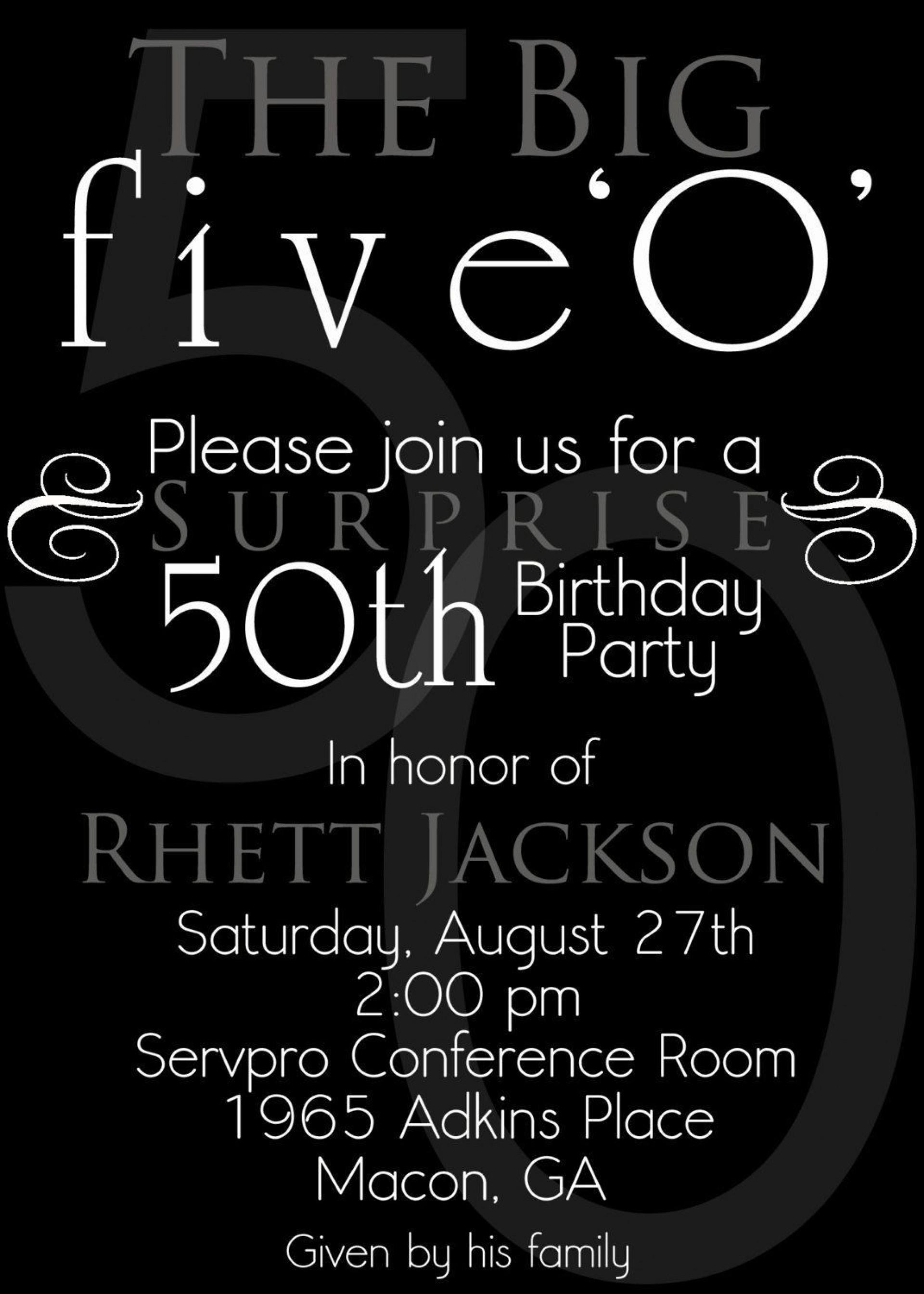 003 Sensational Surprise 50th Birthday Invitation Template Word Free Inspiration 1920