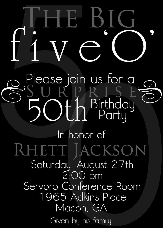 003 Sensational Surprise 50th Birthday Invitation Template Word Free Inspiration Full