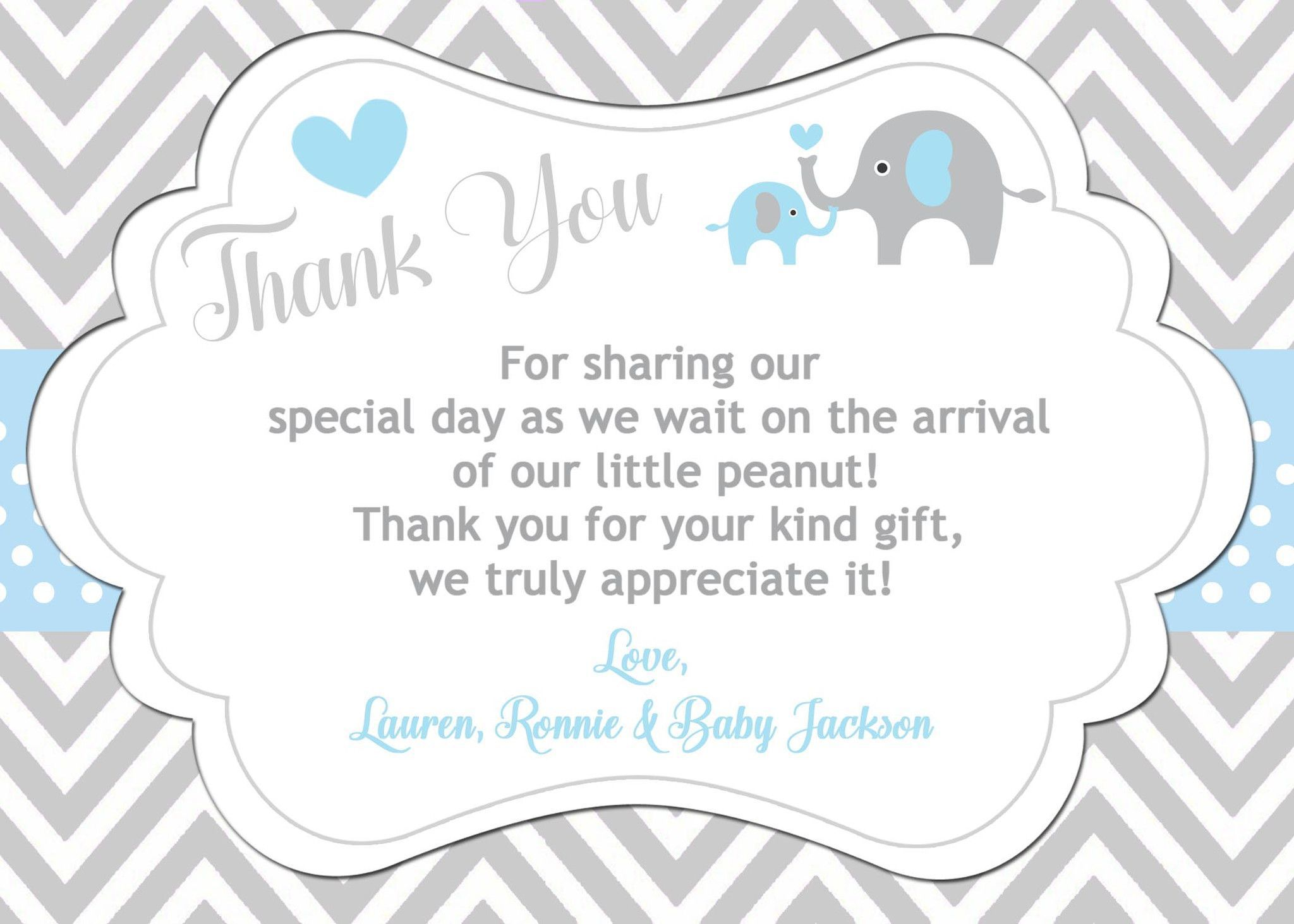 003 Sensational Thank You Note Wording Baby Shower High Definition  For Hosting CardFull