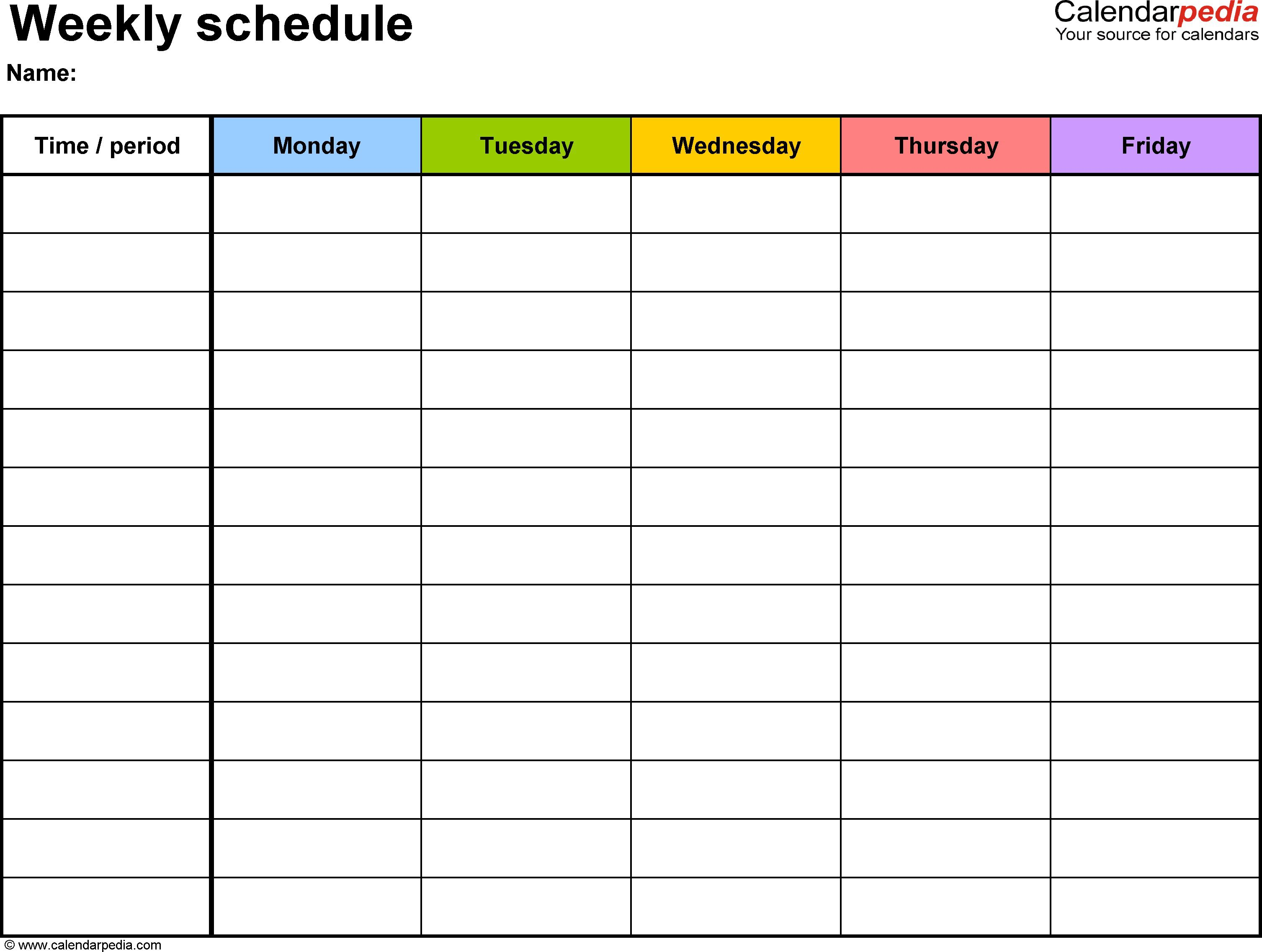 003 Sensational Weekly Schedule Template Word Example  School Work PlanFull