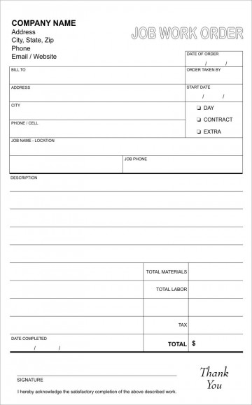 003 Sensational Work Order Form Template Sample  Request Excel Advertising Company Free360