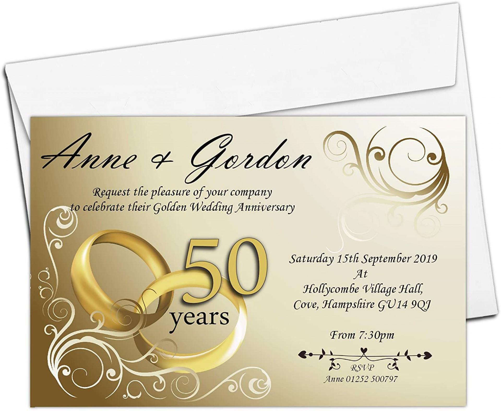 003 Shocking 50th Wedding Anniversary Invitation Design Idea  Designs Wording Sample Card Template Free Download1920