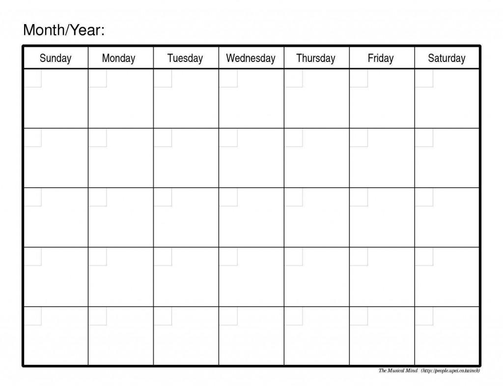 003 Shocking Blank Monthly Calendar Template Pdf Inspiration  2019 PrintableLarge