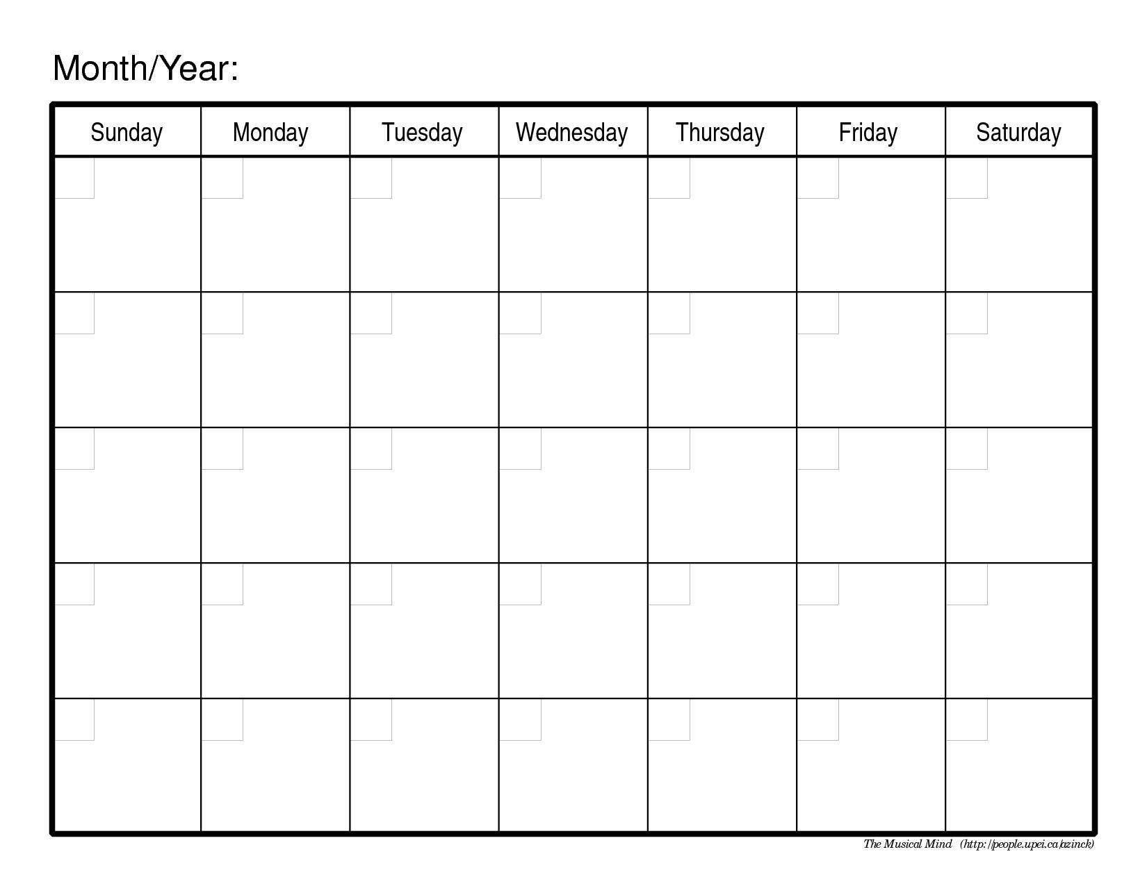 003 Shocking Blank Monthly Calendar Template Pdf Inspiration  2019 PrintableFull