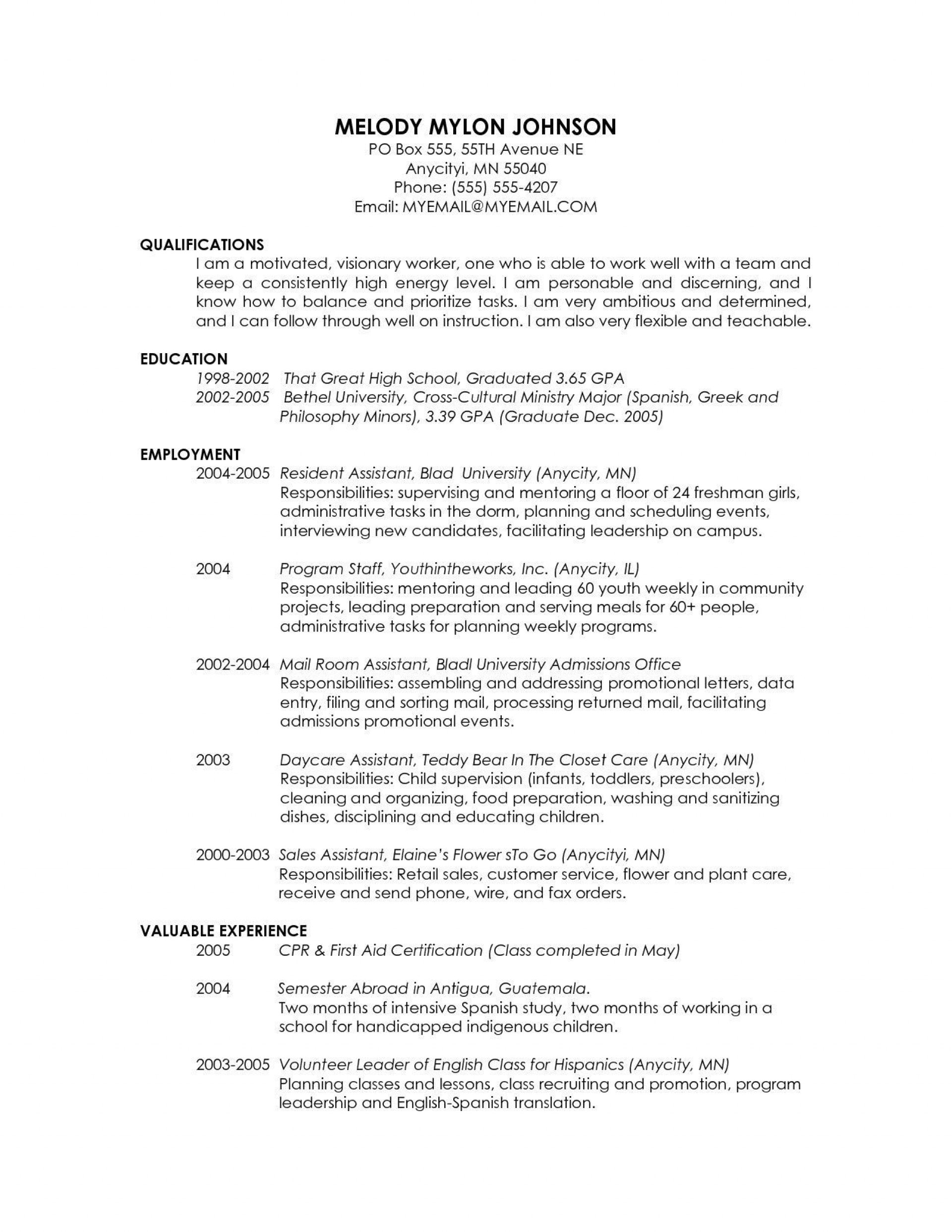 Cv Template Graduate School Addictionary