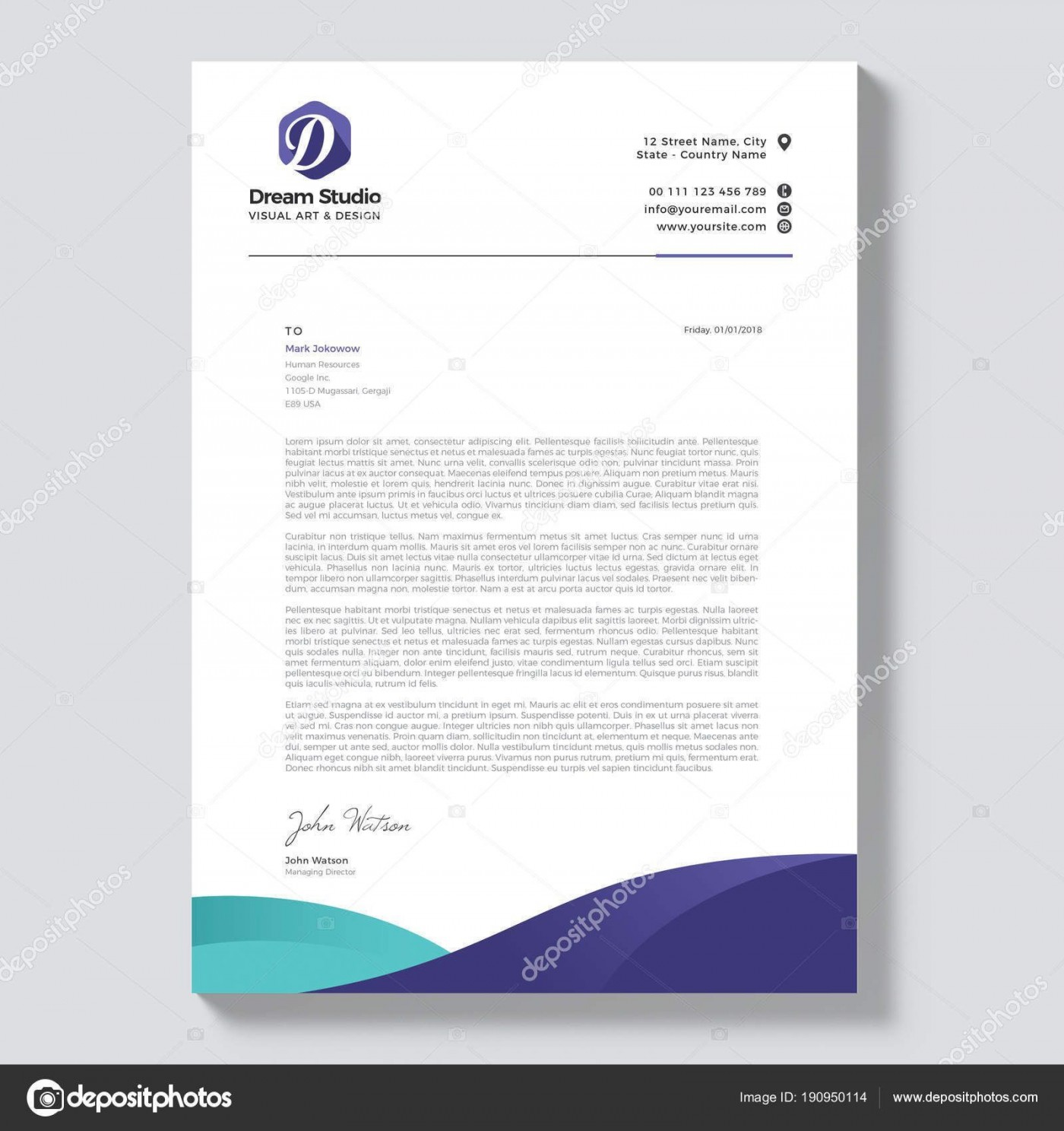 003 Shocking Letterhead Template Free Download Ai High Definition  File1400