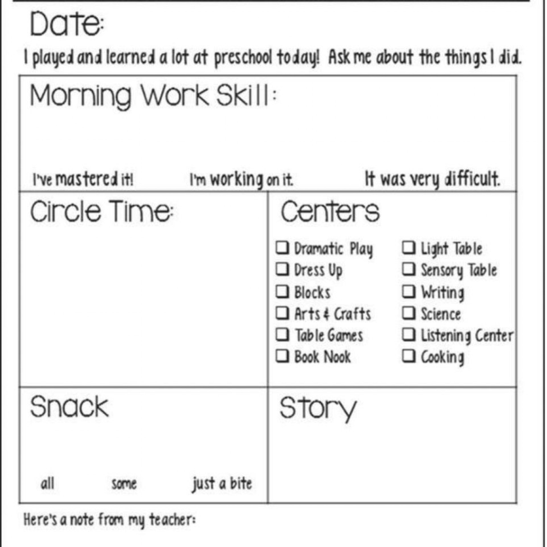 003 Shocking Preschool Daily Report Template Concept  Form Baby Sheet1920