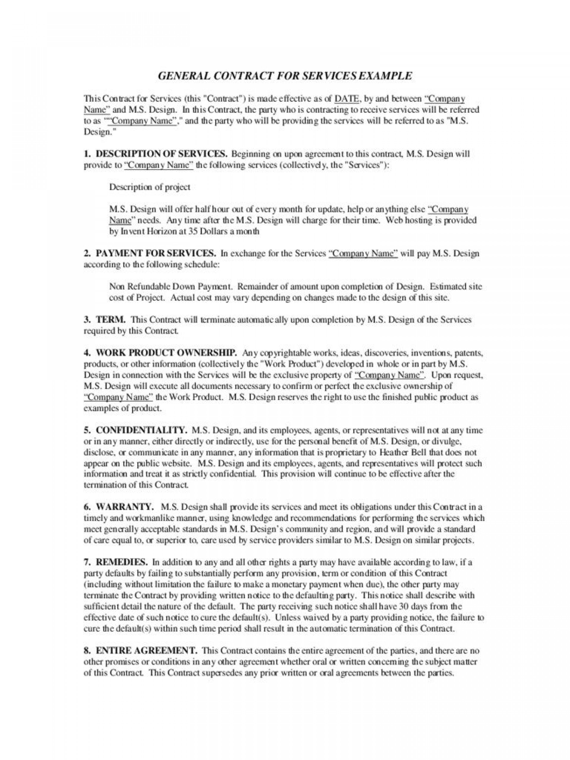 003 Shocking Service Contract Template Word Concept  Agreement Format In Microsoft1920