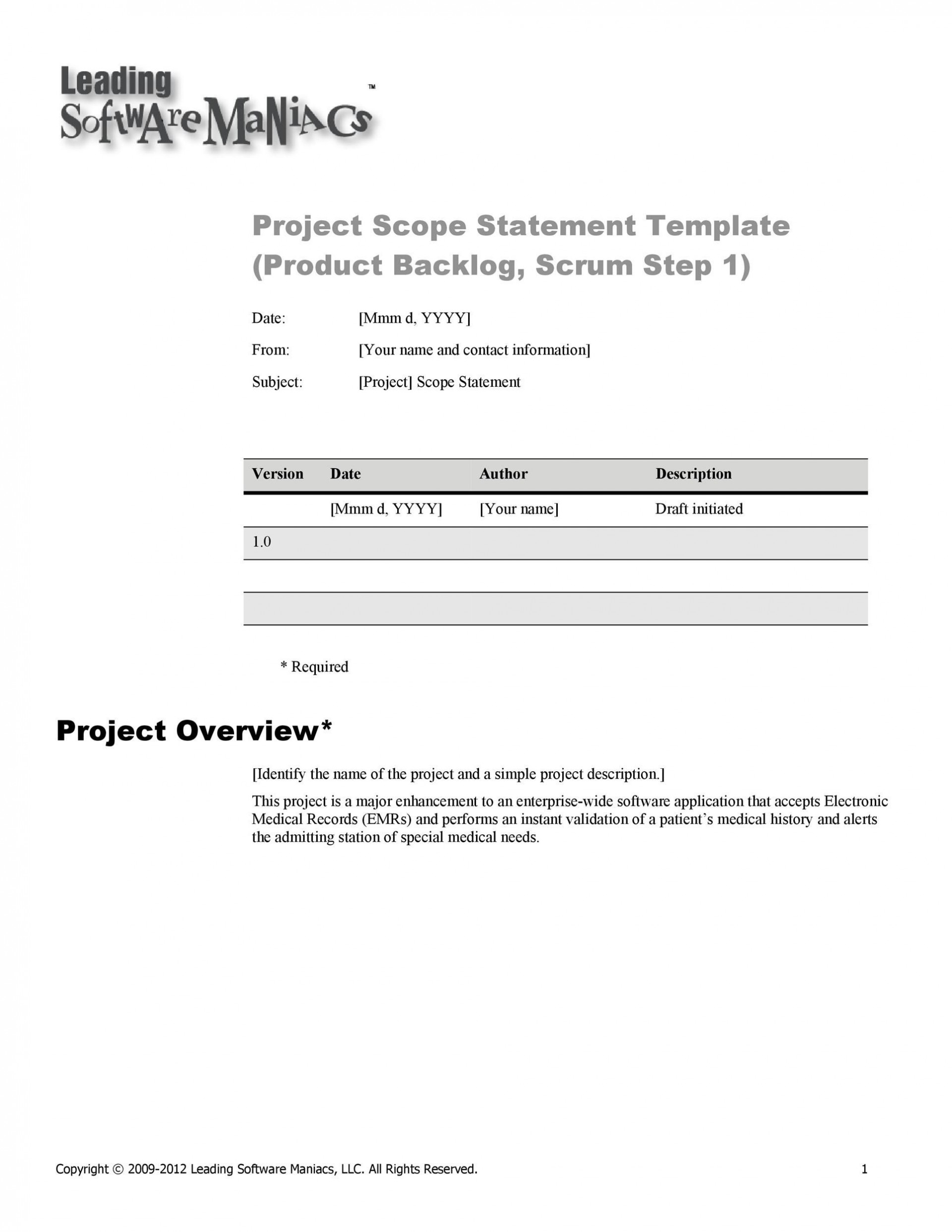 003 Shocking Simple Project Scope Template Concept  Statement Example Pdf Document1920