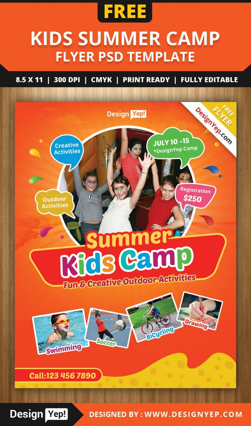 003 Shocking Summer Camp Flyer Template Picture  Program Microsoft Word