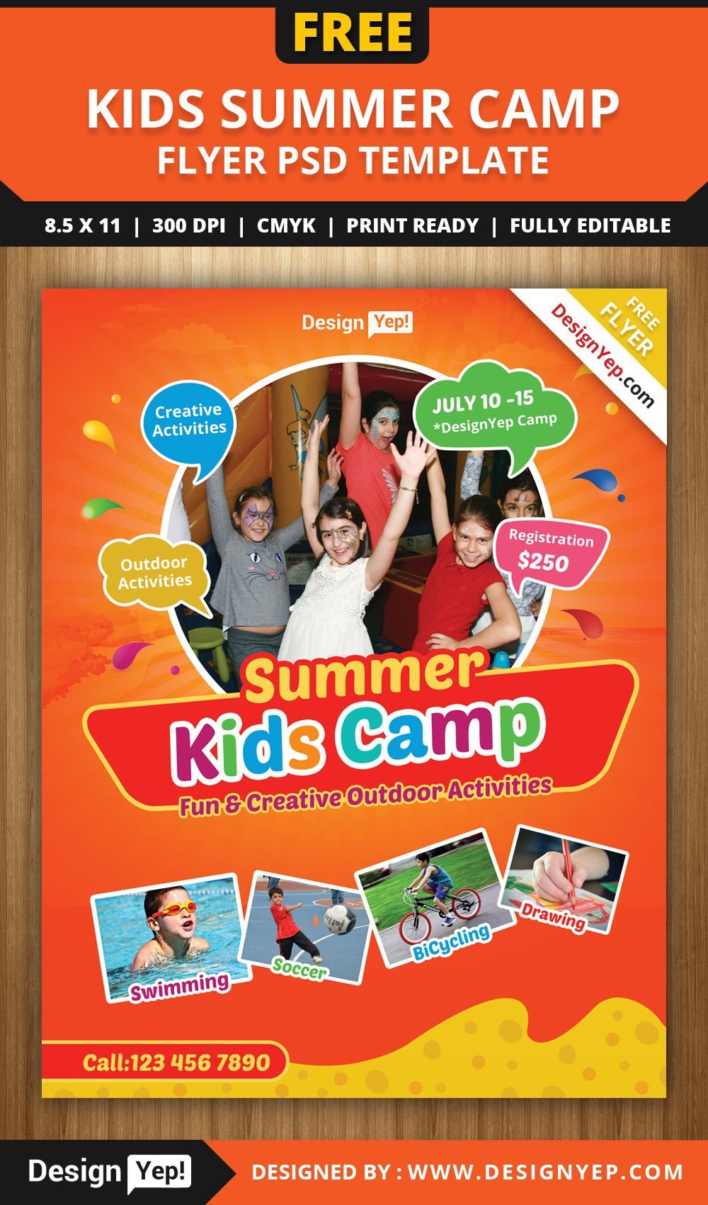 003 Shocking Summer Camp Flyer Template Picture  Day Microsoft Word BackgroundFull