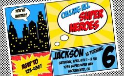 003 Shocking Superhero Birthday Party Invitation Template Free High Def  Invite