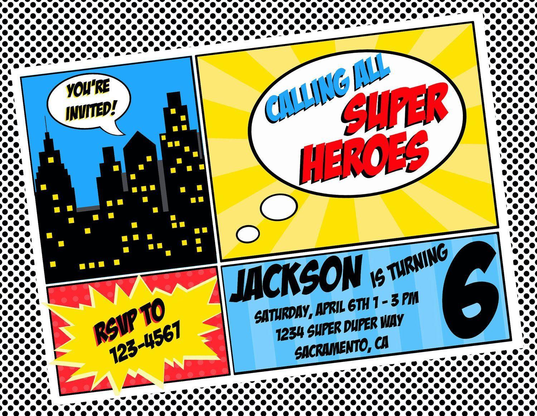 003 Shocking Superhero Birthday Party Invitation Template Free High Def  InviteFull