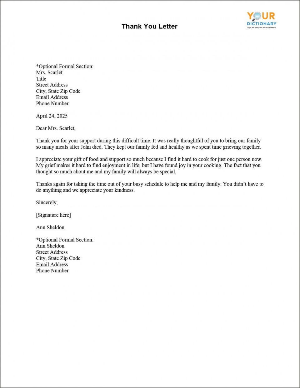 003 Shocking Thank You Letter Template Picture  Donation Word Printable Format Pdf960
