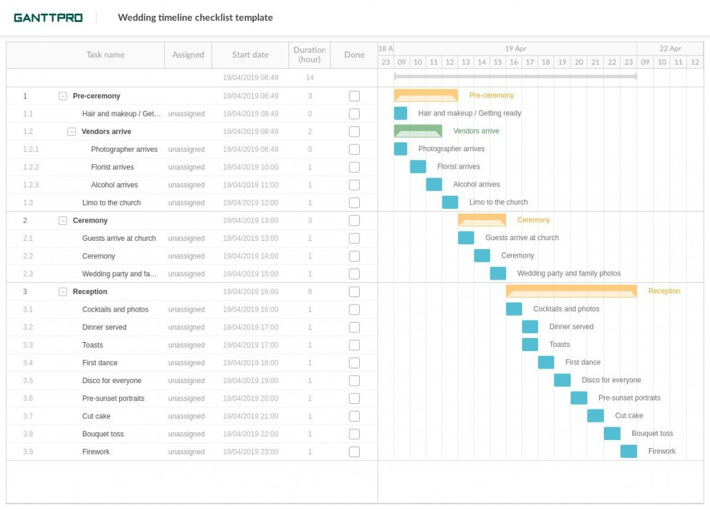 003 Shocking Wedding Planning Timeline Template Example  Day Planner Of 6 MonthLarge