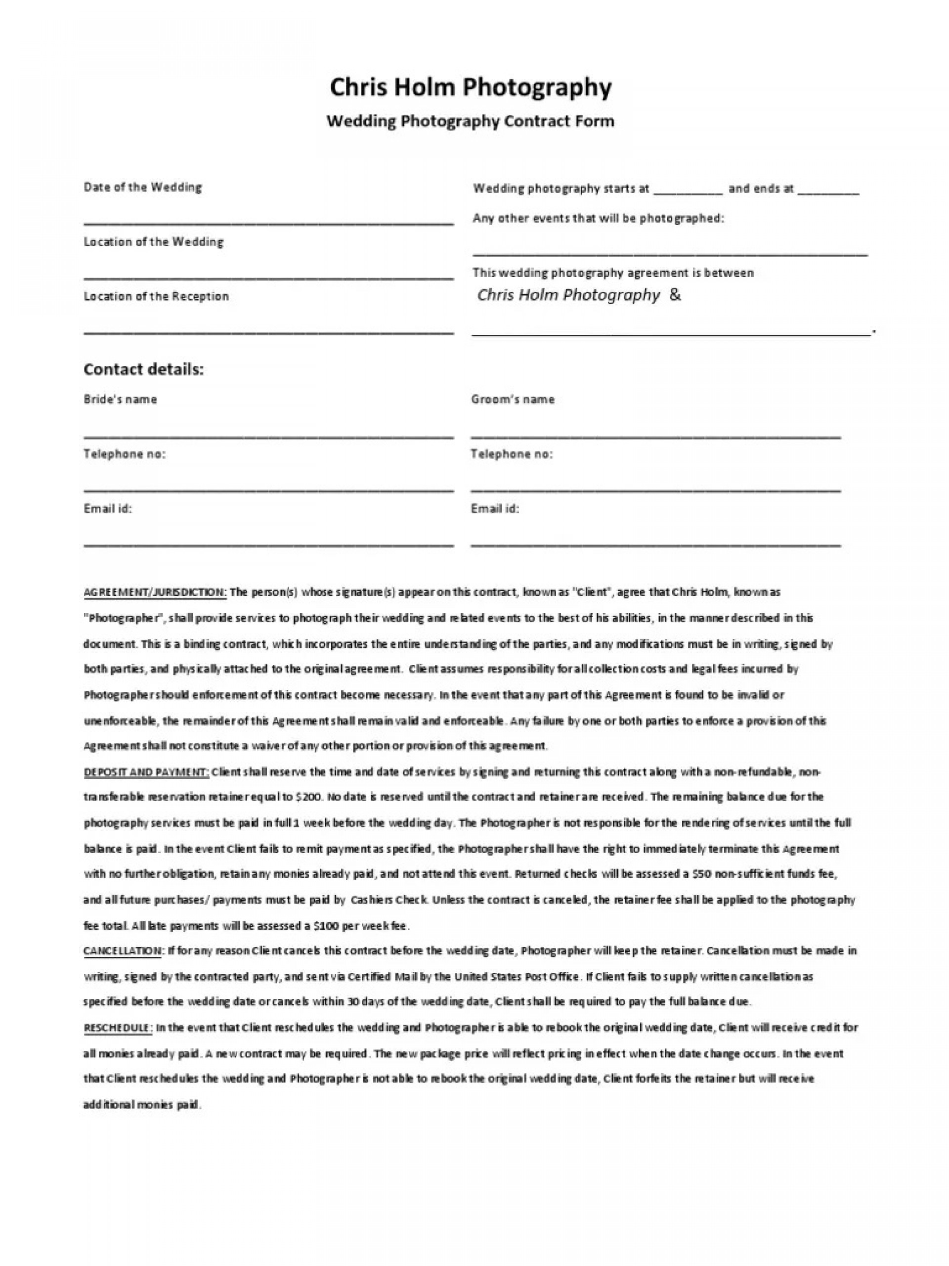 003 Shocking Wedding Videography Contract Template Sample  Free1920