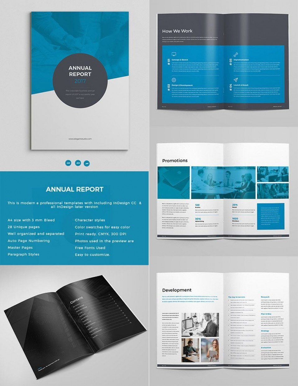 003 Simple Annual Report Design Template Indesign Picture  Free Download960