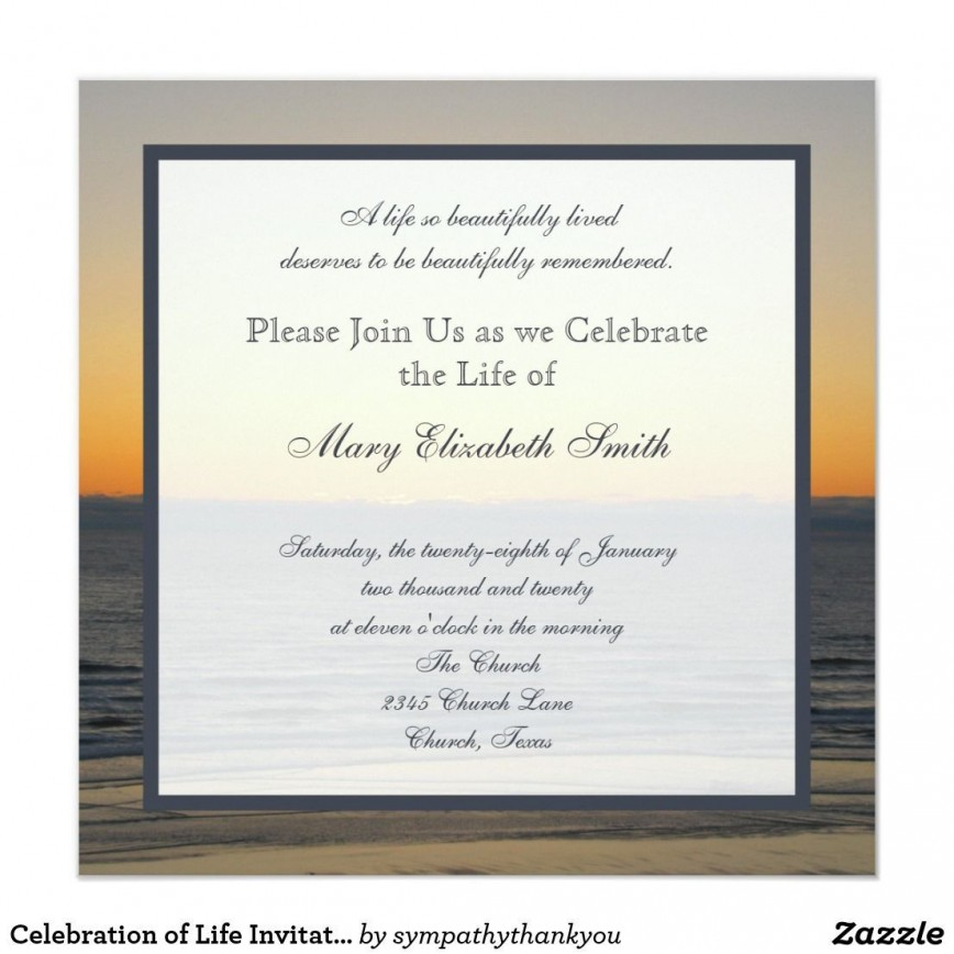 003 Simple Celebration Of Life Invitation Template Free High Def 868