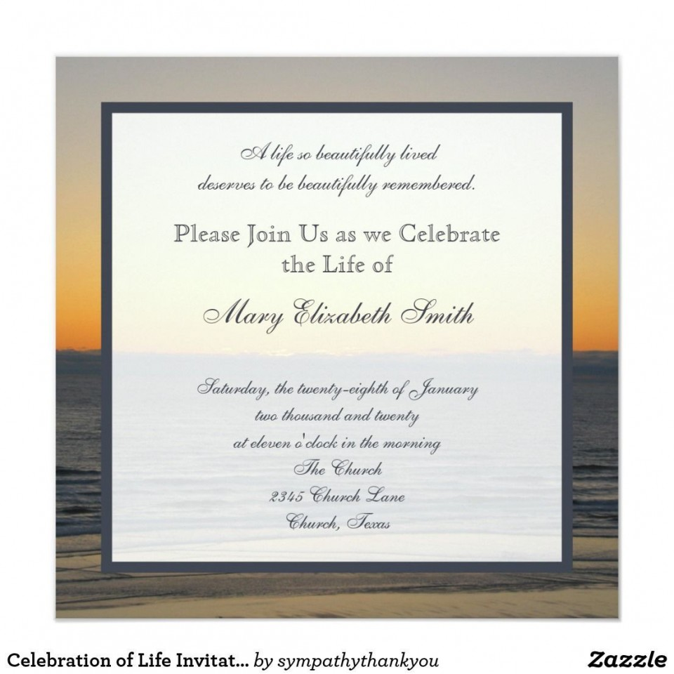 003 Simple Celebration Of Life Invitation Template Free High Def 960