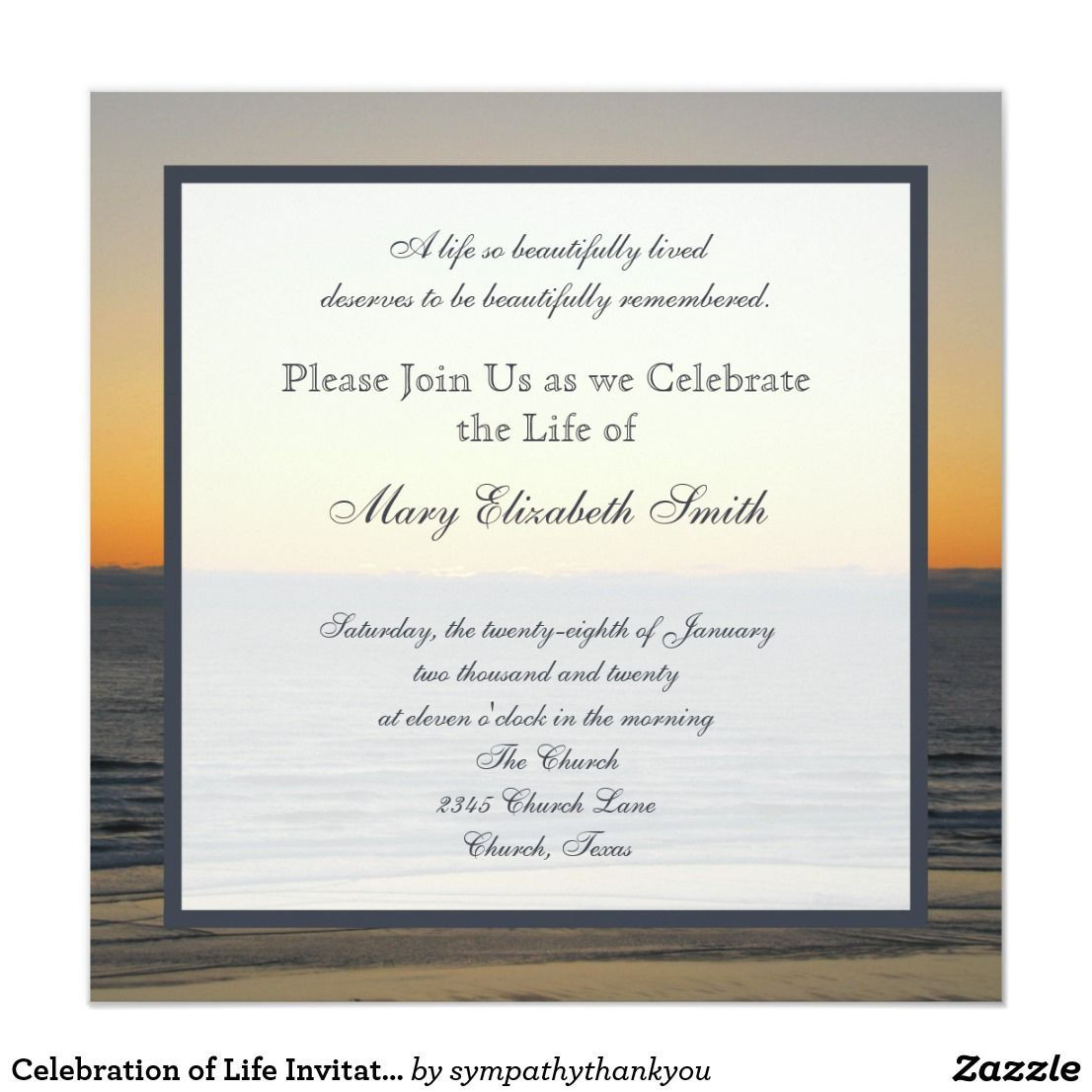 003 Simple Celebration Of Life Invitation Template Free High Def Full